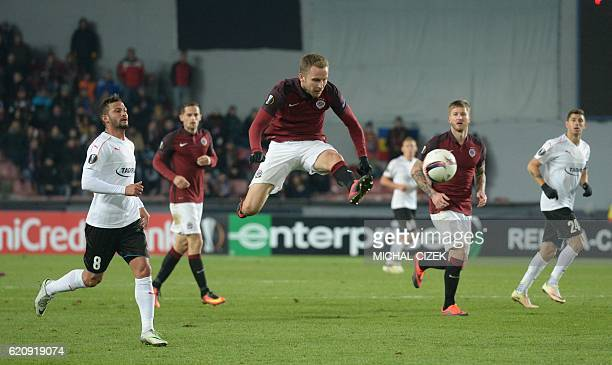 Michal Kadlec of Sparta Praha takes a shot during the UEFA Europa League group K football match between AC Sparta Prague and Hapoel BeerSheva in...