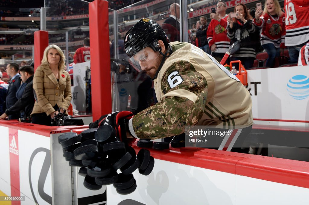 Michal Kempny #6 of the Chicago Blackhawks warms up in a camo jersey in honor of Veterans Day prior to the game against the Montreal Canadiens at the United Center on November 5, 2017 in Chicago, Illinois.