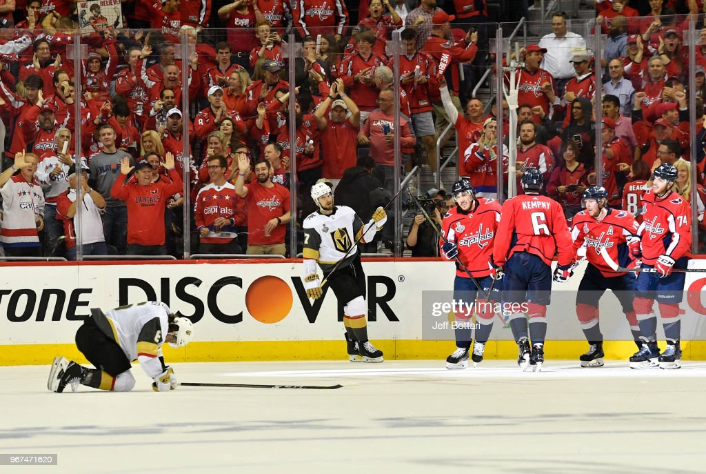 Michal Kempny #6 of the Washington Capitals celebrates with teammates after scoring a goal during the third period against the Vegas Golden Knights in Game Four of the Stanley Cup Final during the 2018 NHL Stanley Cup Playoffs at Capital One Arena on June 4, 2018 in Washington, DC.