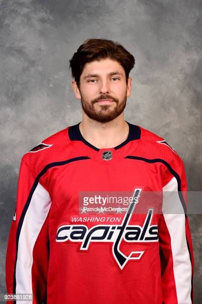 Michal Kempny of the Washington Capitals poses for his official headshot for the 20172018 season before a game against the Tampa Bay Lightning at...