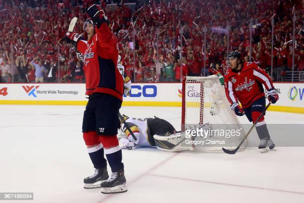 Michal Kempny of the Washington Capitals scores a thirdperiod goal past MarcAndre Fleury of the Vegas Golden Knights in Game Four of the 2018 NHL...
