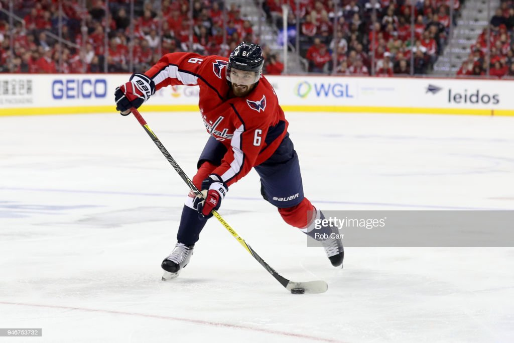 Michal Kempny #6 of the Washington Capitals takes a shot on goal against the Columbus Blue Jackets during Game Two of the Eastern Conference First Round during the 2018 NHL Stanley Cup Playoffs at Capital One Arena on April 15, 2018 in Washington, DC.