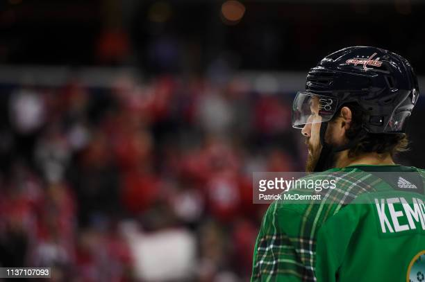 Michal Kempny of the Washington Capitals warms up before a game against the Winnipeg Jets at Capital One Arena on March 10 2019 in Washington DC