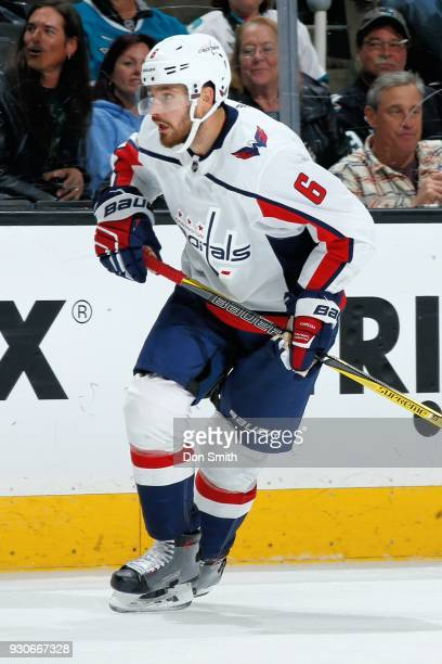 Michal Kempny of the Washington Capitols looks during a NHL game against the San Jose Sharks at SAP Center on March 10 2018 in San Jose California