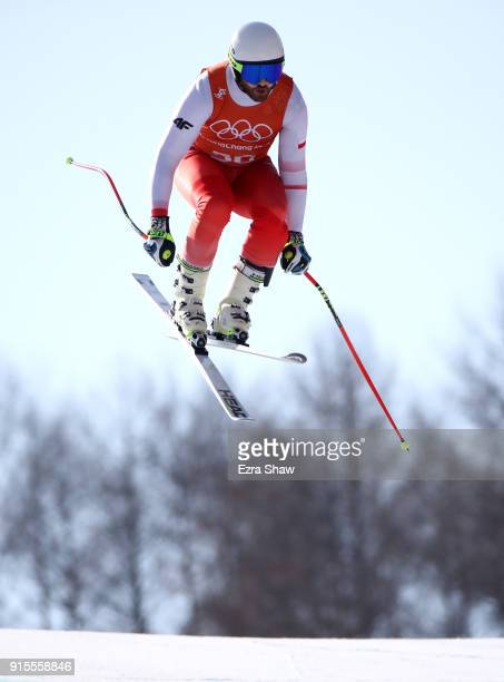 Michal Klusak of Poland makes a run during the Men's Downhill Alpine Skiing training at Jeongseon Alpine Centre on February 8 2018 in Pyeongchanggun...