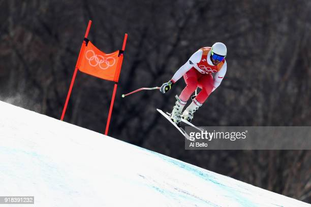 Michal Klusak of Poland makes a run during the Men's Downhill on day six of the PyeongChang 2018 Winter Olympic Games at Jeongseon Alpine Centre on...
