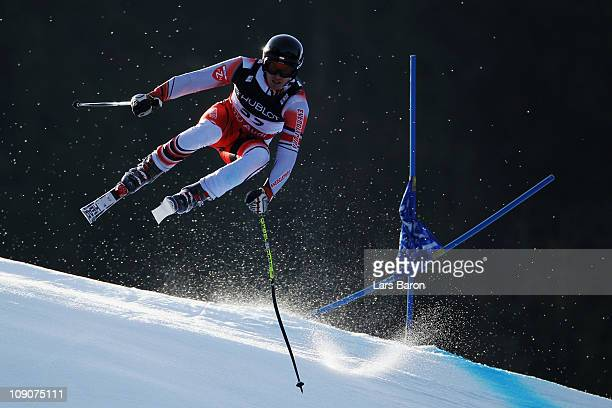 Michal Klusak of Poland skis in the Downhill segment of the Men's Super Combined during the Alpine FIS Ski World Championships on the Kandahar course...