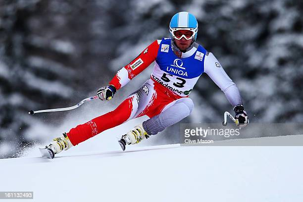 Michal Klusak of Poland skis in the Men's Downhill during the Alpine FIS Ski World Championships on February 9 2013 in Schladming Austria