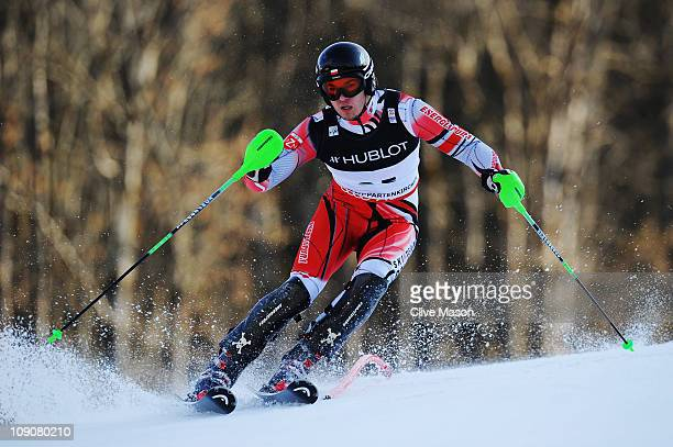 Michal Klusak of Poland skis in the Slalom segment of the Men's Super Combined during the Alpine FIS Ski World Championships on the Gudiberg course...