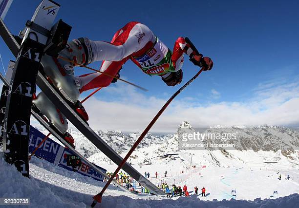 Michal Klusak of Poland starts for the Men's giant slalom event of the Men's Alpine Skiing FIS World Cup at the Rettenbachgletscher on October 25...