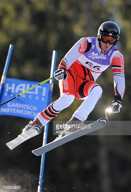 Michal Klusak skis during a training run for the men's World Downhill Slalom race at the Alpine skiing World Championship in Garmisch Partenkirchen...