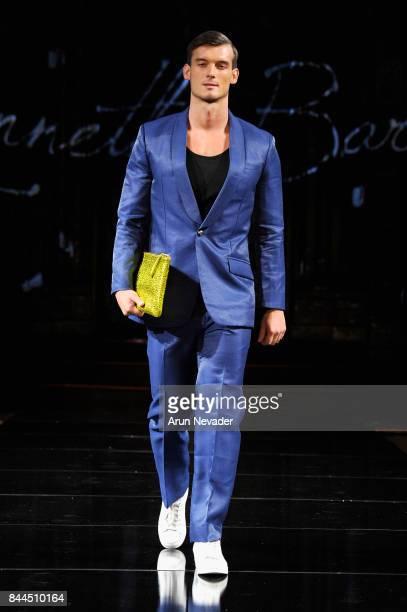 Michal Komosny walks the runway for Kenneth Barlis at New York Fashion Week NYFW Art Hearts Fashion SS/18 at The Angel Orensanz Foundation on...
