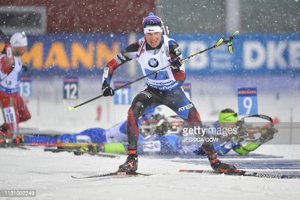 Michal Krcmar of Czech Republic competes in the men's 4x7,5 km relay competition at the IBU World Biathlon Championships in Oestersund, Sweden, on...