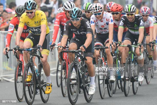 Michal Kwiatkowski and Christopher FROOME from Team SKY in action in front of the peloton during the 1st TDF Shanghai Criterium 2017 On Sunday 29...