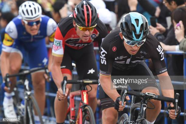 Michal KWIATKOWSKI leads the peloton ahead of Greg VAN AVERMAET and Marcel KITTEL during 589km Main Race of the 5th edition of TDF Saitama Criterium...