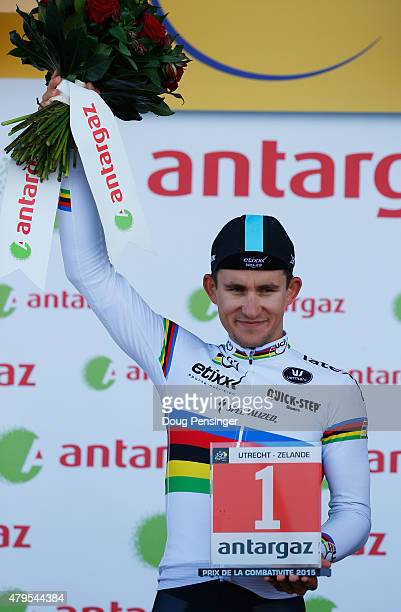 Michal Kwiatkowski of Poland and EtixxQuick Step is awarded the jersey for most combative rider on the podium after stage two of the 2015 Tour de...