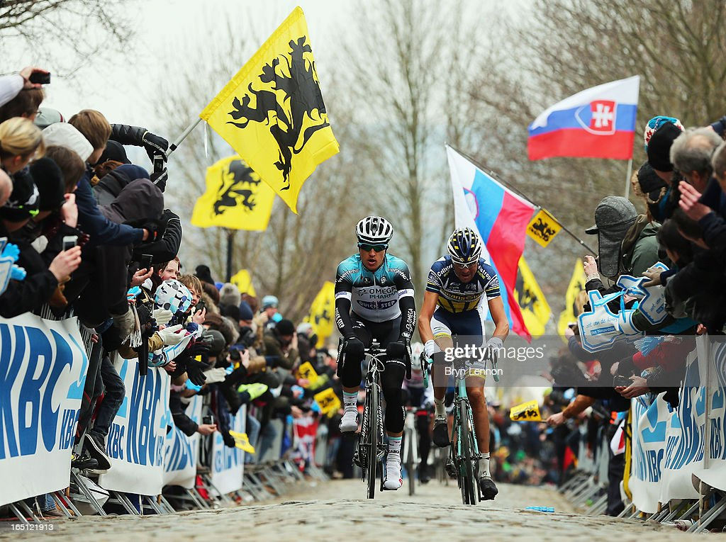 Michal Kwiatkowski of Poland and Omega Pharma-Quick Step leads the break during the 97th Tour of Flanders from Brugge to Oudenaarde on March 31, 2013 in Oudenaarde, Belgium.
