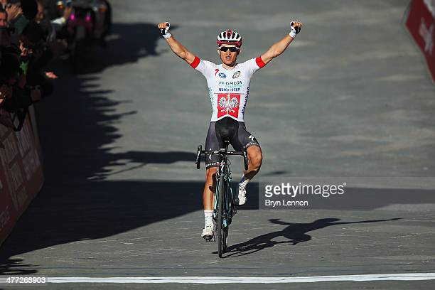 Michal Kwiatkowski of Poland and Omega Pharma-QuickStep crosses the finish line to win the 2014 Strade Bianchi from to San Gimignano to Siena ll...