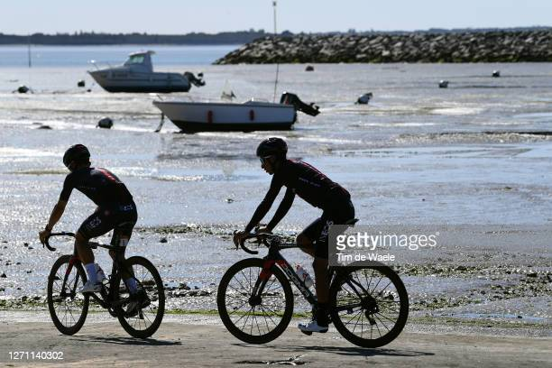 Michal Kwiatkowski of Poland and Team INEOS Grenadiers / Egan Arley Bernal Gomez of Colombia and Team INEOS Grenadiers / Silhouets / Sea / Boats /...