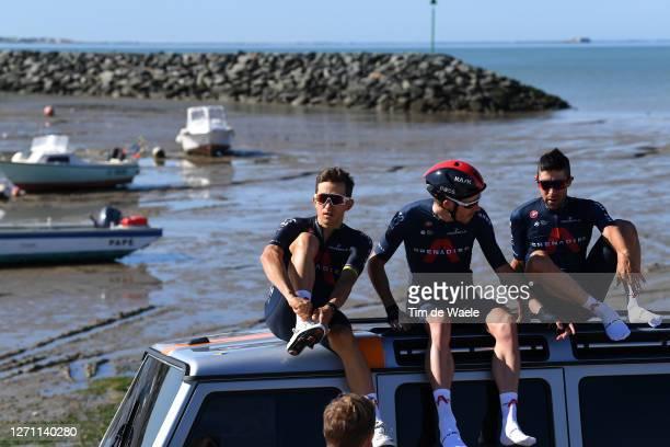 Michal Kwiatkowski of Poland and Team INEOS Grenadiers / Luke Rowe of The United Kingdom and Team INEOS Grenadiers / Jonathan Castroviejo of Spain...