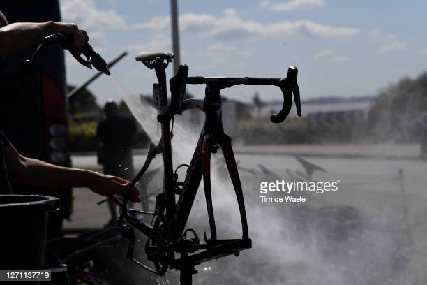Michal Kwiatkowski of Poland and Team INEOS Grenadiers / Pinarello Bikes of Team INEOS Grenadiers / Cleaning / Detail view / during the 107th Tour de...