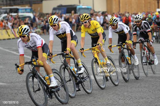 Michal Kwiatkowski of Poland and Team Sky / Christopher Froome of Great Britain and Team Sky / Geraint Thomas of Great Britain and Team Sky Yellow...