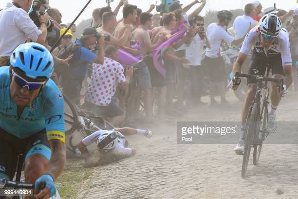 Michal Kwiatkowski of Poland and Team Sky / Crash / Luke Rowe of Great Britain and Team Sky / Cobbles / Pave / Dust / during the 105th Tour de France...