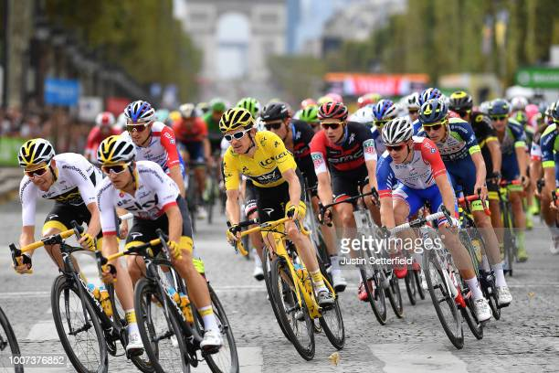 Michal Kwiatkowski of Poland and Team Sky / Geraint Thomas of Great Britain and Team Sky Yellow Leader Jersey / Arnaud Demare of France and Team...