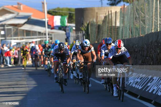 Michal Kwiatkowski of Poland and Team Sky / Matteo Trentin of Italy and Team MitcheltonScott / Oliver Naesen of Belgium and Team AG2R La Mondiale /...