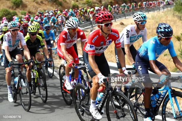 Michal Kwiatkowski of Poland and Team Sky Red Leader Jersey / Nairo Quintana of Colombia and Movistar Team / Antoine Duchesne of Canada and Team...
