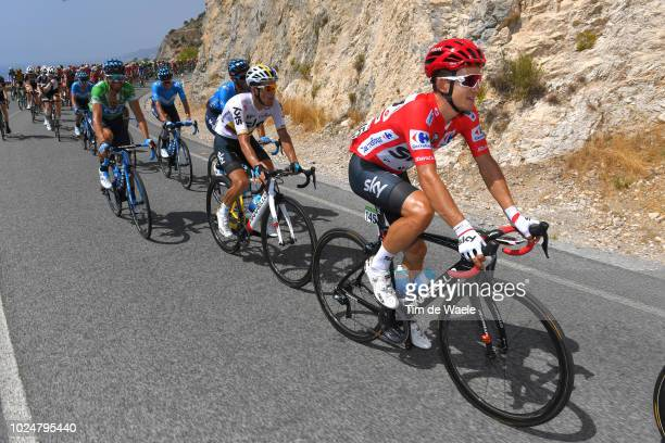 Michal Kwiatkowski of Poland and Team Sky Red Leader Jersey / Sergio Luis Henao Montoya of Colombia and Team Sky / Alejandro Valverde of Spain and...