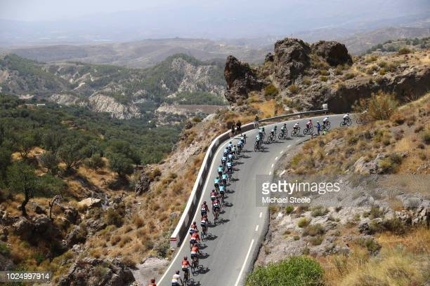 Michal Kwiatkowski of Poland and Team Sky Red Leaders Jersey / Sergio Luis Henao Montoya of Colombia and Team Sky / Landscape / Peloton / during the...