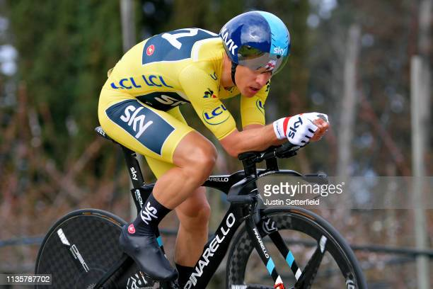Michal Kwiatkowski of Poland and Team Sky Yellow Leader Jersey / during the 77th Paris - Nice 2019, Stage 5 a 25,5km Individual Time Trial stage from...