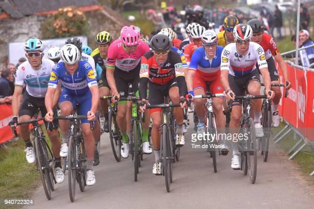 Michal Kwiatkowski of Poland and Team Sky / Yves Lampaert of Belgium and Team Quick-Step Floors / Greg Van Avermaet of Belgium and BMC Racing Team /...