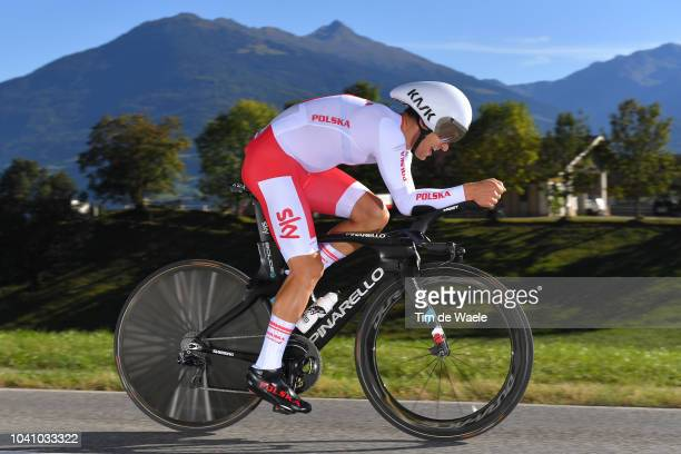 Michal Kwiatkowski of Poland / during the Men Elite Individual Time Trial a 525km race from Rattenberg to Innsbruck 582m at the 91st UCI Road World...