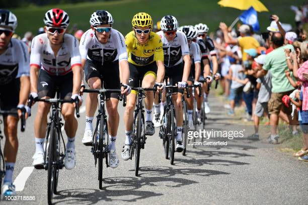 Michal Kwiatkowski of Poland / Luke Rowe of Great Britain / Geraint Thomas of Great Britain Yellow Leader Jersey / Christopher Froome of Great...