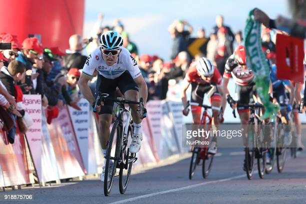 Michal Kwiatkowski of Team Sky wins the 2nd stage of the cycling Tour of Algarve between Sagres and Alto do Foia on February 15 2018