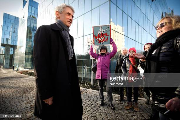 Michal Laskowski Supreme Court judge and press secretary is seen speaking to demonstrators outside the Supreme Court in Warsaw Poland on February 27...