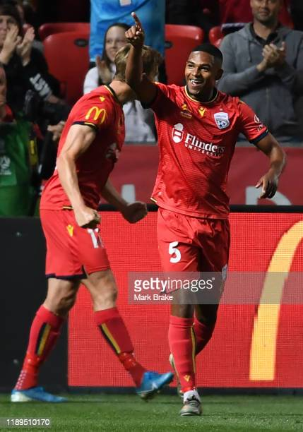 Michaël Maria of Adelaide United celebrates after scoring his teams second goal during the round 7 A-League match between Adelaide United and...
