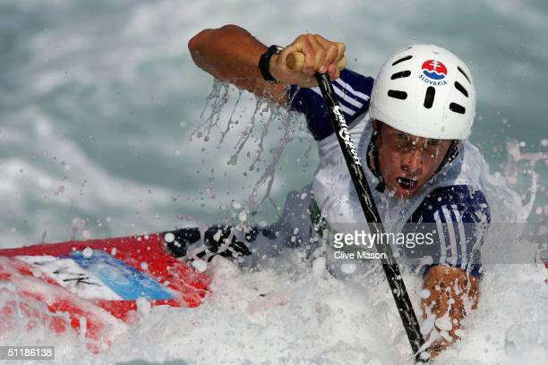 Michal Martikan of Slovakia competes in the men's C1 class slalom semifinal on August 18 2004 during the Athens 2004 Summer Olympic Games at the...