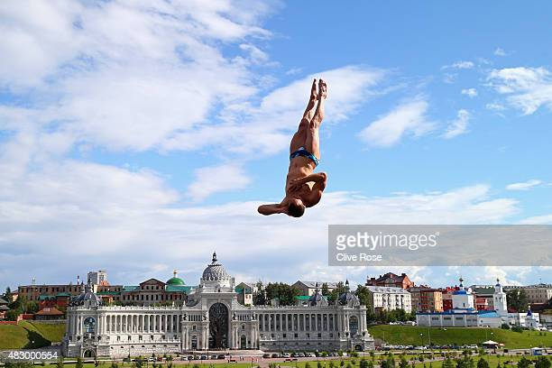 Michal Navratil of the Czech Republic competes in the Men's 27m High Diving Final on day twelve of the 16th FINA World Championships at the Kanzanka...