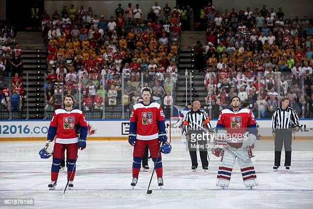 Michal Neuvirth and Andrej Sustr and Jakub Nakladal of Czech Republic stand during Czech national anthem before the 2016 World Cup of Hockey...