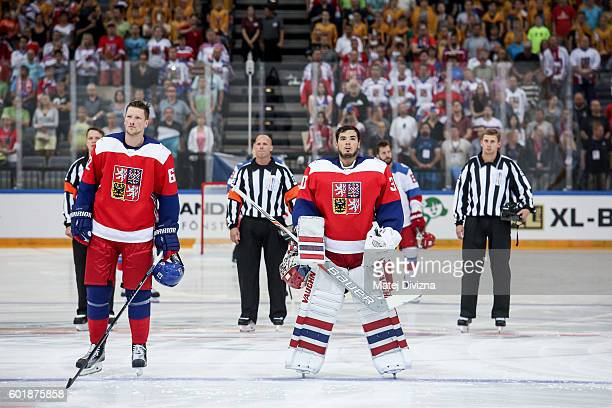 Michal Neuvirth and Andrej Sustr of Czech Republic stand during Czech national anthem before the 2016 World Cup of Hockey preparation match between...