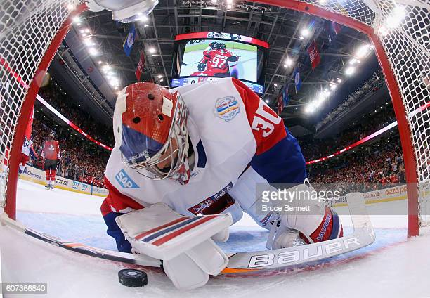 Michal Neuvirth of Team Czech Republic reacts to a second period goal by Joe Thornton of Team Canada during the World Cup of Hockey tournament at the...