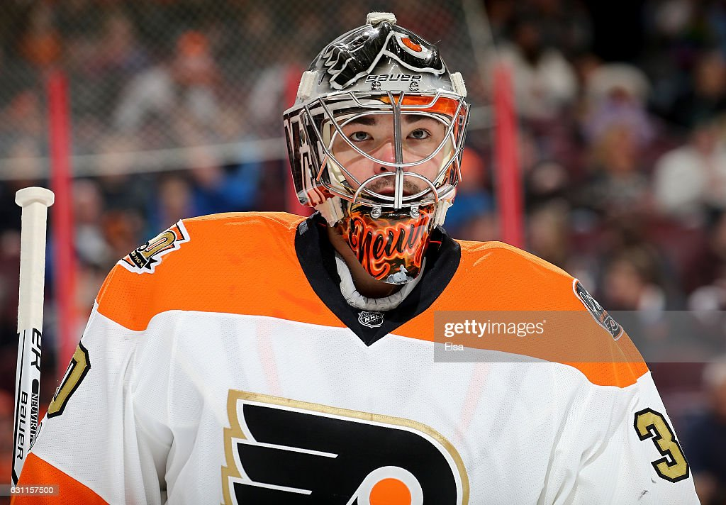 Michal Neuvirth #30 of the Philadelphia Flyers looks on in the first period against the Tampa Bay Lightning on January 7, 2017 at Wells Fargo Center in Philadelphia, Pennsylvania.