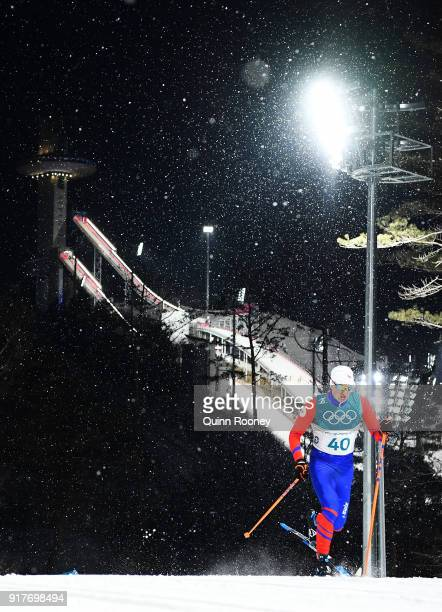 Michal Novak of the Czech Republic competes during the CrossCountry Men's Sprint Classic Qualification on day four of the PyeongChang 2018 Winter...