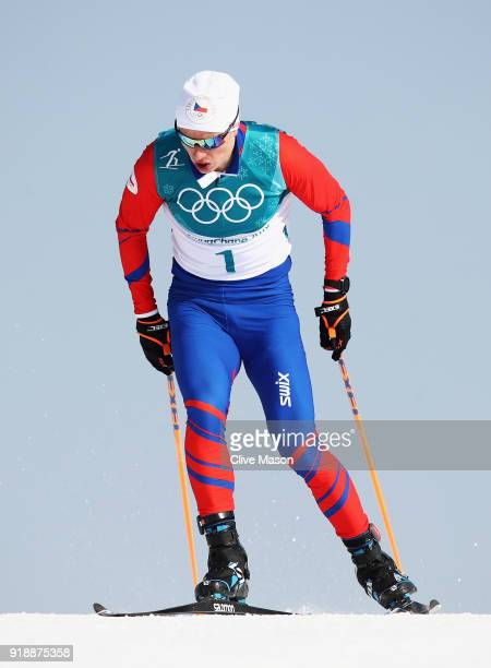 Michal Novak of the Czech Republic competes during the CrossCountry Skiing Men's 15km Free at Alpensia CrossCountry Centre on February 16 2018 in...