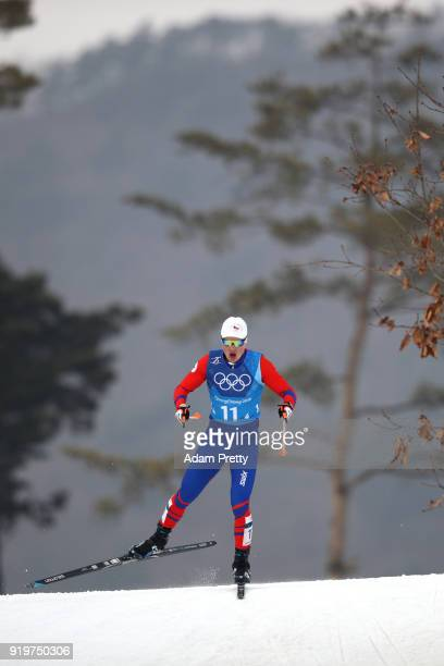 Michal Novak of the Czech Republic competes in the final leg during CrossCountry Skiing men's 4x10km relay on day nine of the PyeongChang 2018 Winter...