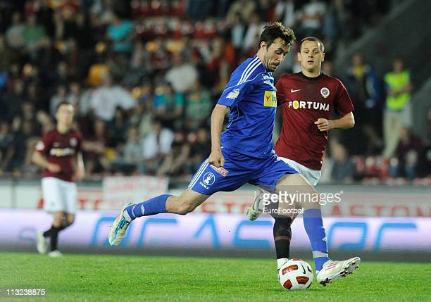 Michal Ordos of SK Sigma Olomouc in action during their Czech First League match between Sparta Praha and SK Sigma Olomouc at the Generali Arena on...