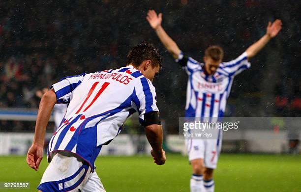 Michal Papadopulos of Heerenveen celebrates after scoring his team`s second goal during the UEFA Europa League group D match between SC Heerenveen...